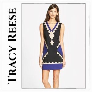 NEW Tracy Reese V-Neck Colorblock Shift Dress